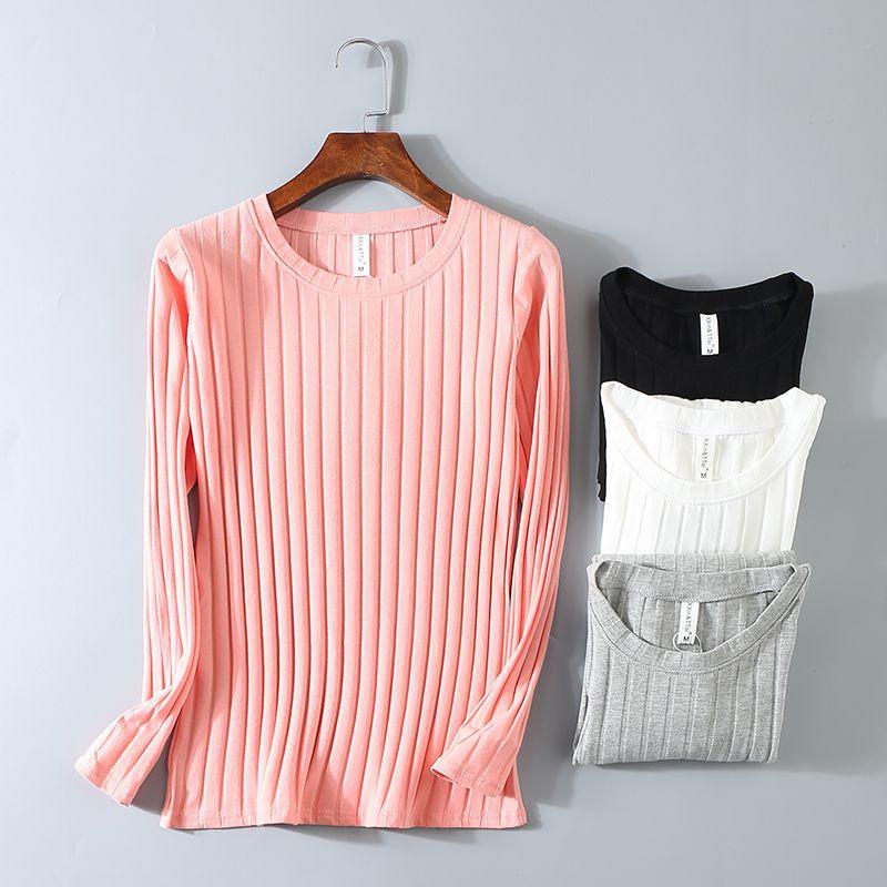T-shirt élastique rayé femmes 2019 printemps décontracté col rond à manches longues chemise coton T-Shirts hauts Blusas tricotés grande taille D108