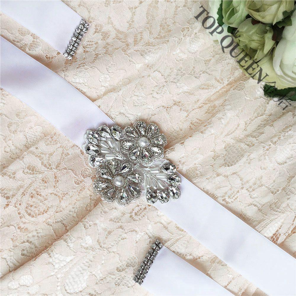 Topqueen s142 cristal Diamantes con piedras falsas perlas vestidos de boda Accesorios novia cinturones para el partido de tarde