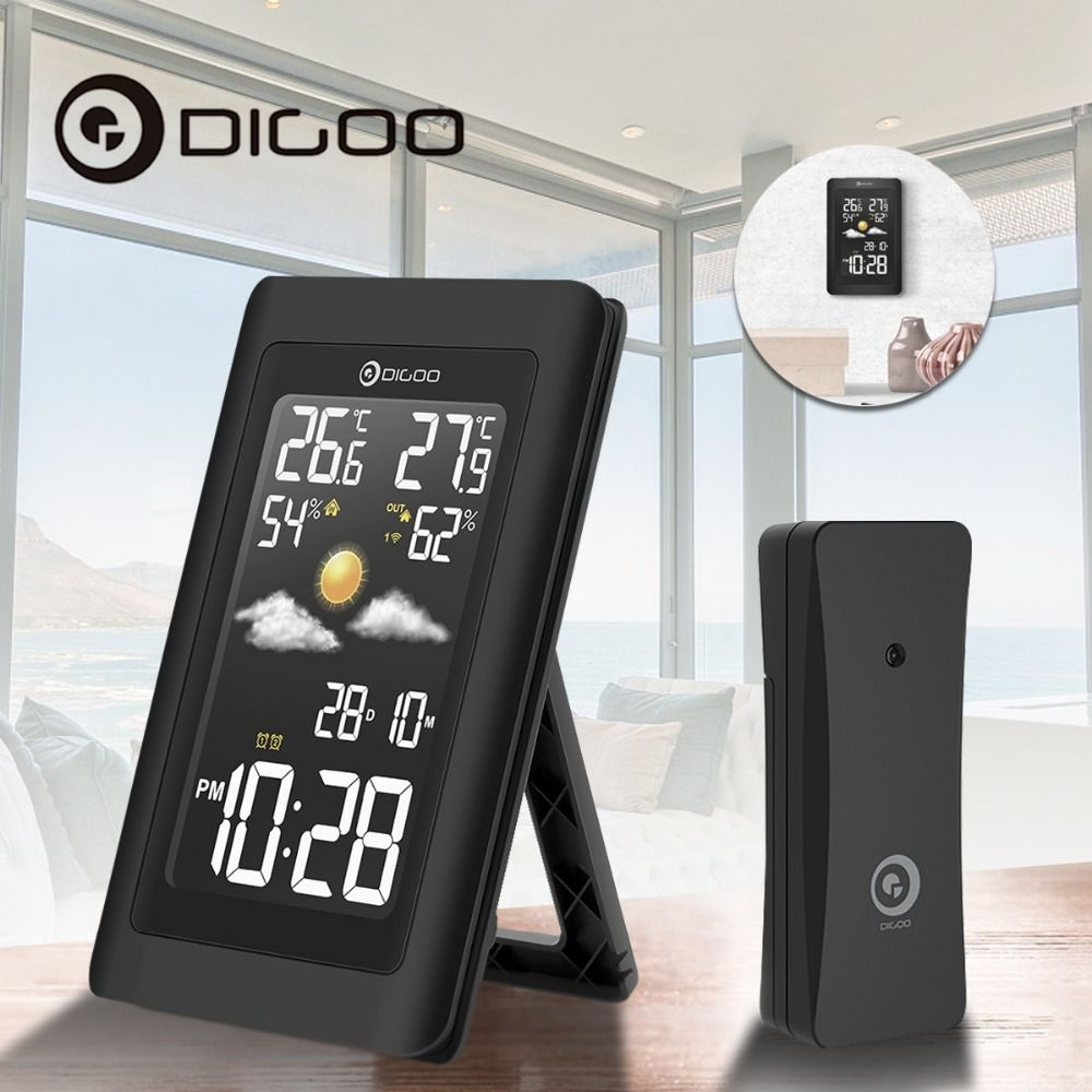 Digoo Hygrometer Thermometer Weather Station DG-TH11300 Wireless HD Negative Screen USB Outdoor VA Glass Forecast Sensor Clock