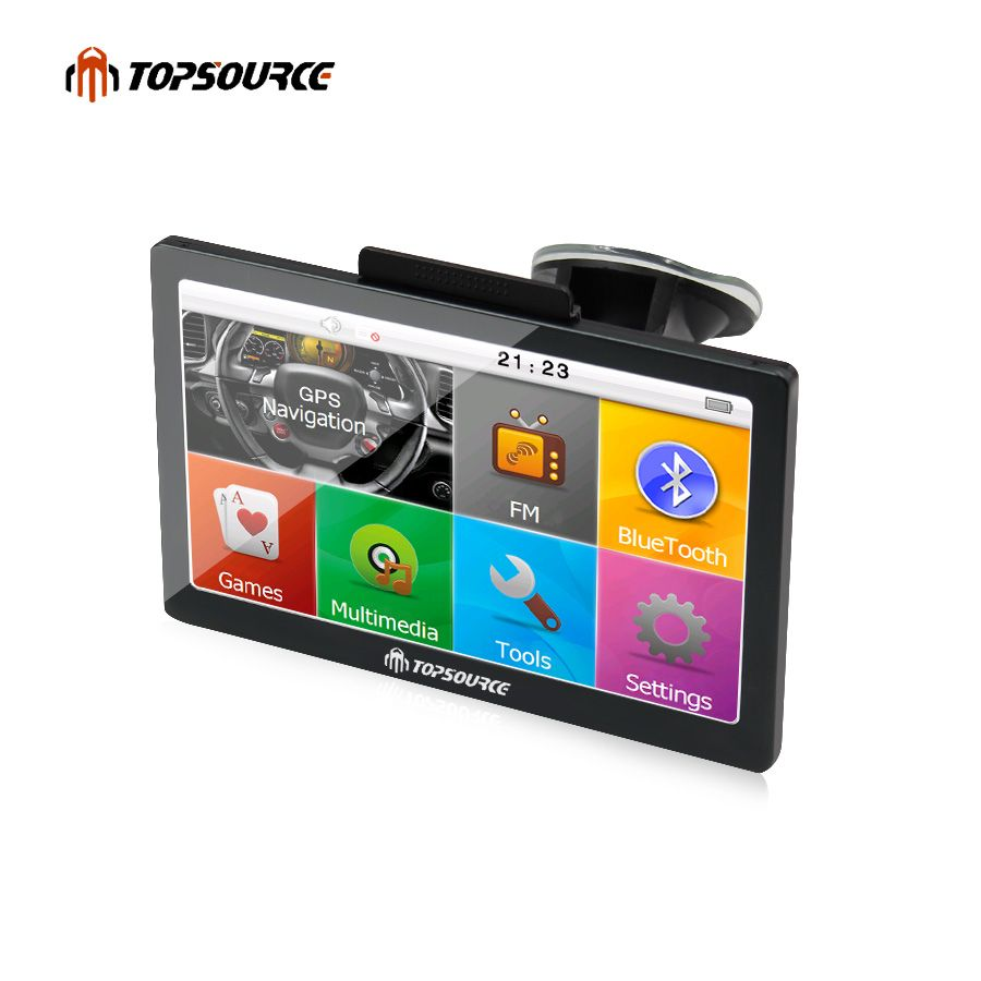 TOPSOURCE 7'' Car GPS Navigation HD navigator WinCE 6.0 8GB FM 800MHZ Free Map Upgrade Spain/Europe/USA+Canada Truck gps Sat nav