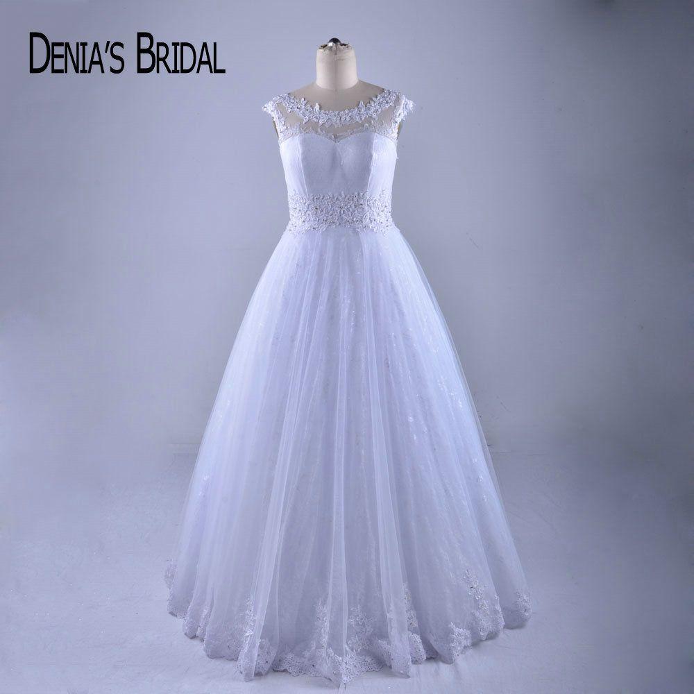 Elegant A Line Wedding Dresses Crew Neck Deep V Back Floor Length Bridal Gowns