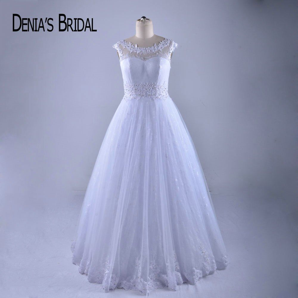 Elegant A Line Wedding Dresses Crew Neck Deep V Back Floor Length Bridal Gowns