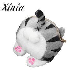 Xiniu Lucu Kucing Butt Tail Plush Dompet Koin untuk koin mewah cat tas anak dompet koin kecil kartun dompet koin zip kartu # WMWS
