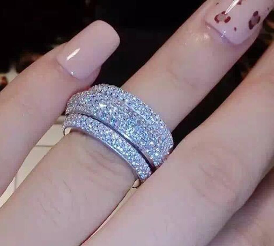 choucong Wieck Full Pave AAA Cubic Zirconia 925 Sterling Silver Simulated stones <font><b>Women</b></font> Wedding Engagement Band Ring Size5-11