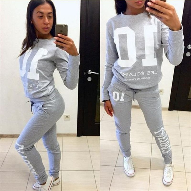 New Women's alphanumeric 10 Run jogging Suits Clothes Sports Set Pullover sweater shirt And Pants Gym Fitness workout 2pcs/Sets