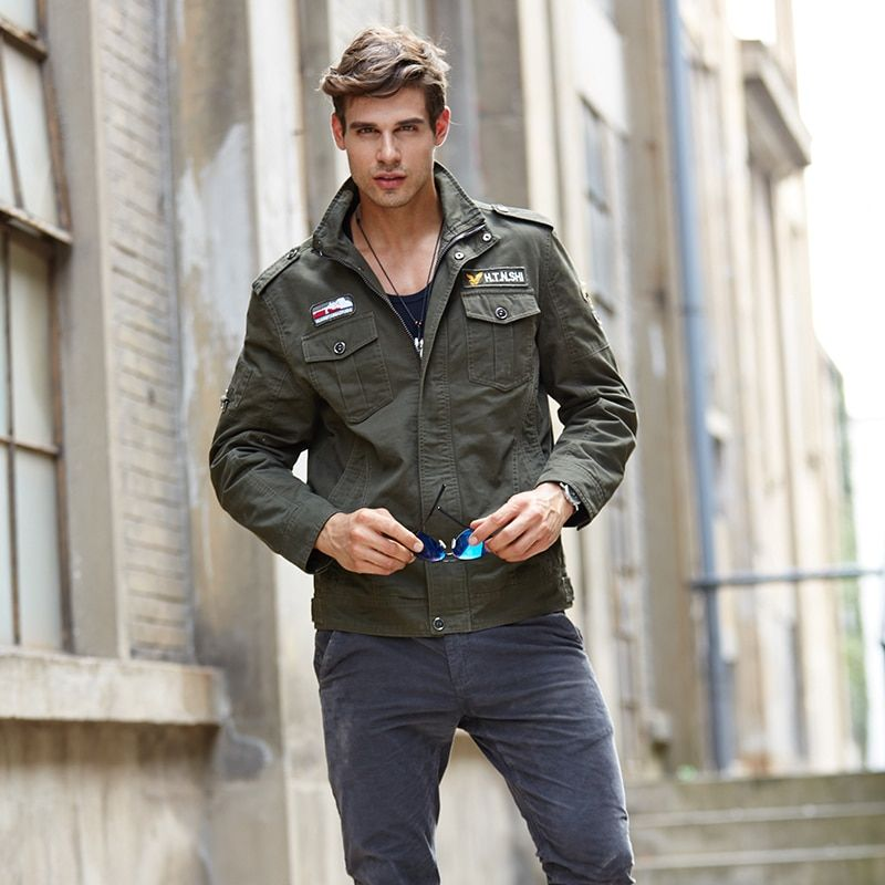 spring autumn mens coat Cotton casual brand clothing military bomber jacket men style Solid jaqueta masculina