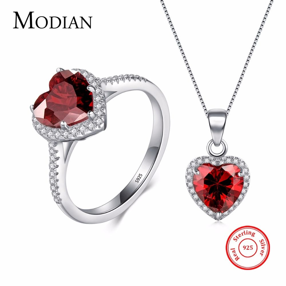 Modian Genuine Solid 925 Sterling Silver Hearts Sets Jewelry Red <font><b>Ring</b></font> Necklace Wedding Crystal Pendant Fashion Chain For Women