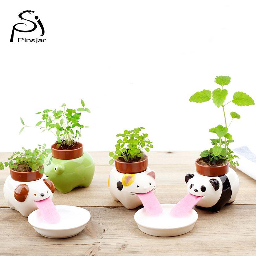 Livraison Gratuite Peropon Potable Animaux Planteur Mignon Langue Animale Pot de fleur En Céramique Arrosage Auto Créature