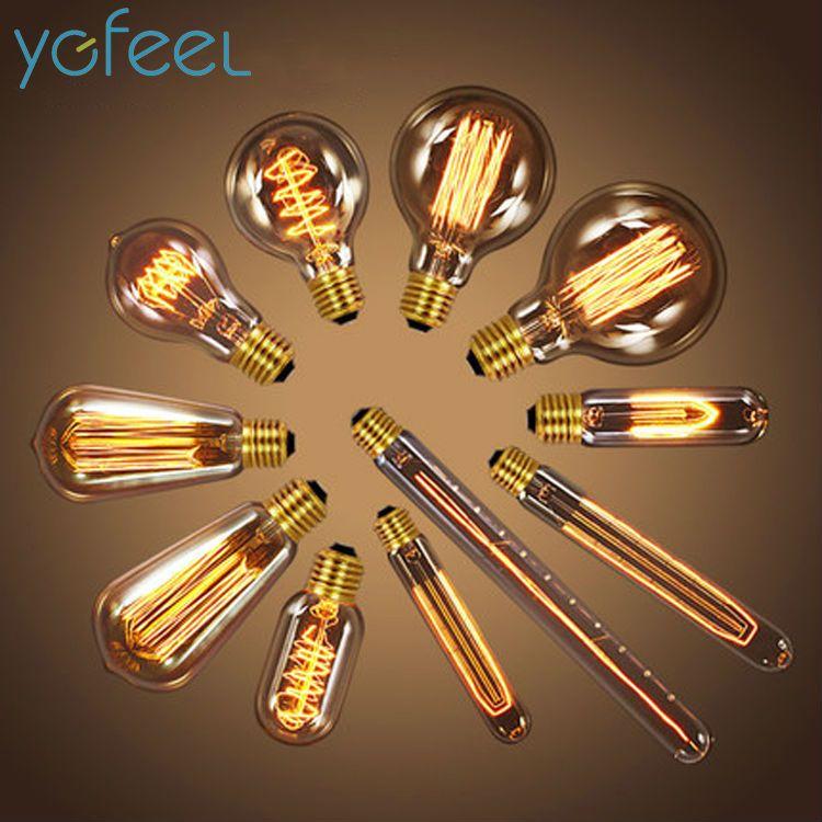 [YGFEEL] Antike Vintage Retro Edison Glühbirnen 220 v/110 v E27 40 watt Glühlampen g80 G95 A19 T10 T45 T185 T300 ST64