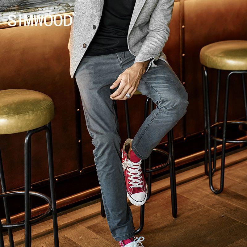 SIMWOOD Brand Pants Men 2018 New Spring Casual Pants Men Dark Plaid Trousers Fashion Slim Fit Plus Size High Quality XC017033