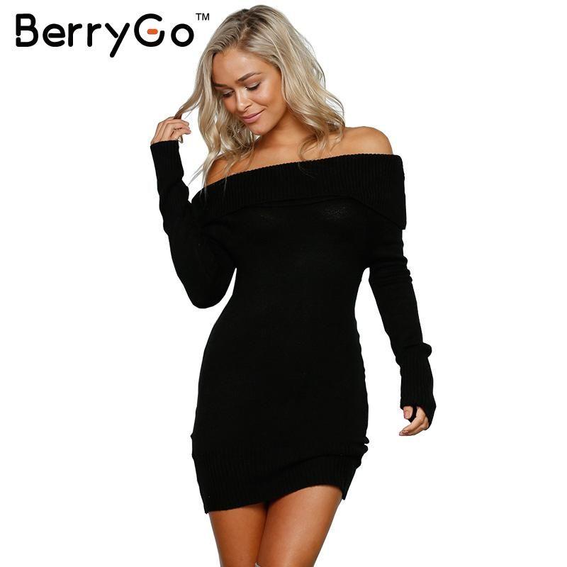 BerryGo Autumn winter off shoulder knitted bodycon dress Women sexy long sleeve party dress <font><b>2016</b></font> short white dresses vestidos