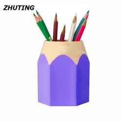 En plastique Amovible Étudiants Fournitures Crayon Forme Double-Utilisation Rond Porte-Stylo Bureau D'apprentissage Bureau De Stockage De Papeterie Seau