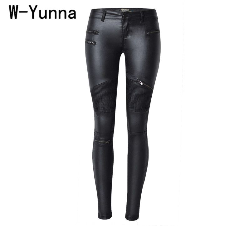 W-Yunna New Fashion Imitation Denim Slim Leggings for Women Black Motorcycle Streetwear Pants <font><b>Folds</b></font> Zippers PU Leather Pants