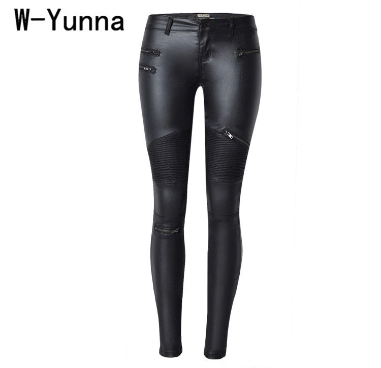 W-Yunna New Fashion Imitation Denim Slim Leggings for Women Black Motorcycle Streetwear Pants Folds Zippers PU Leather Pants