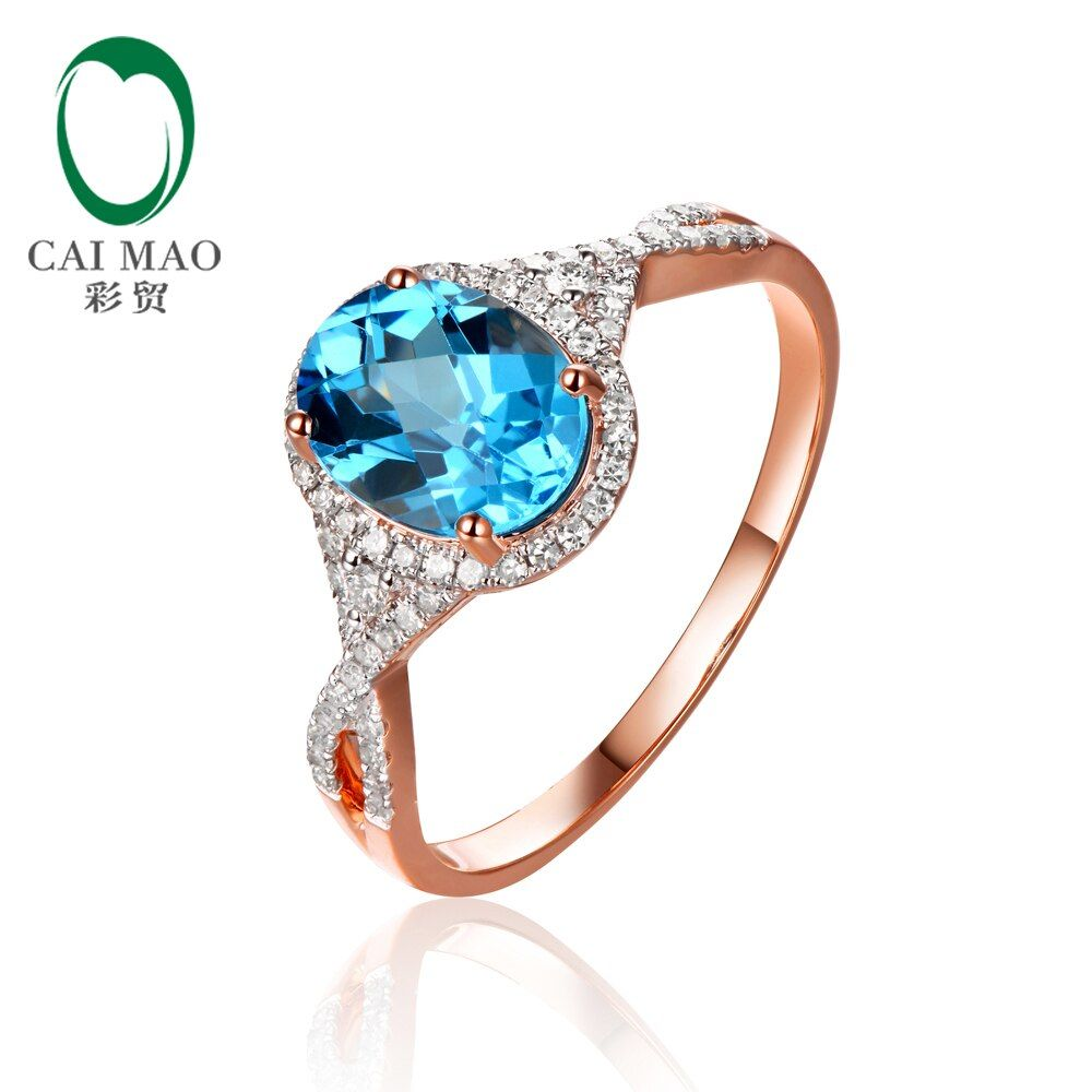 Caimao jewelry 2.19ct Natural Topaz and 0.29ct Diamonds 14K Rose Gold Engagement Ring