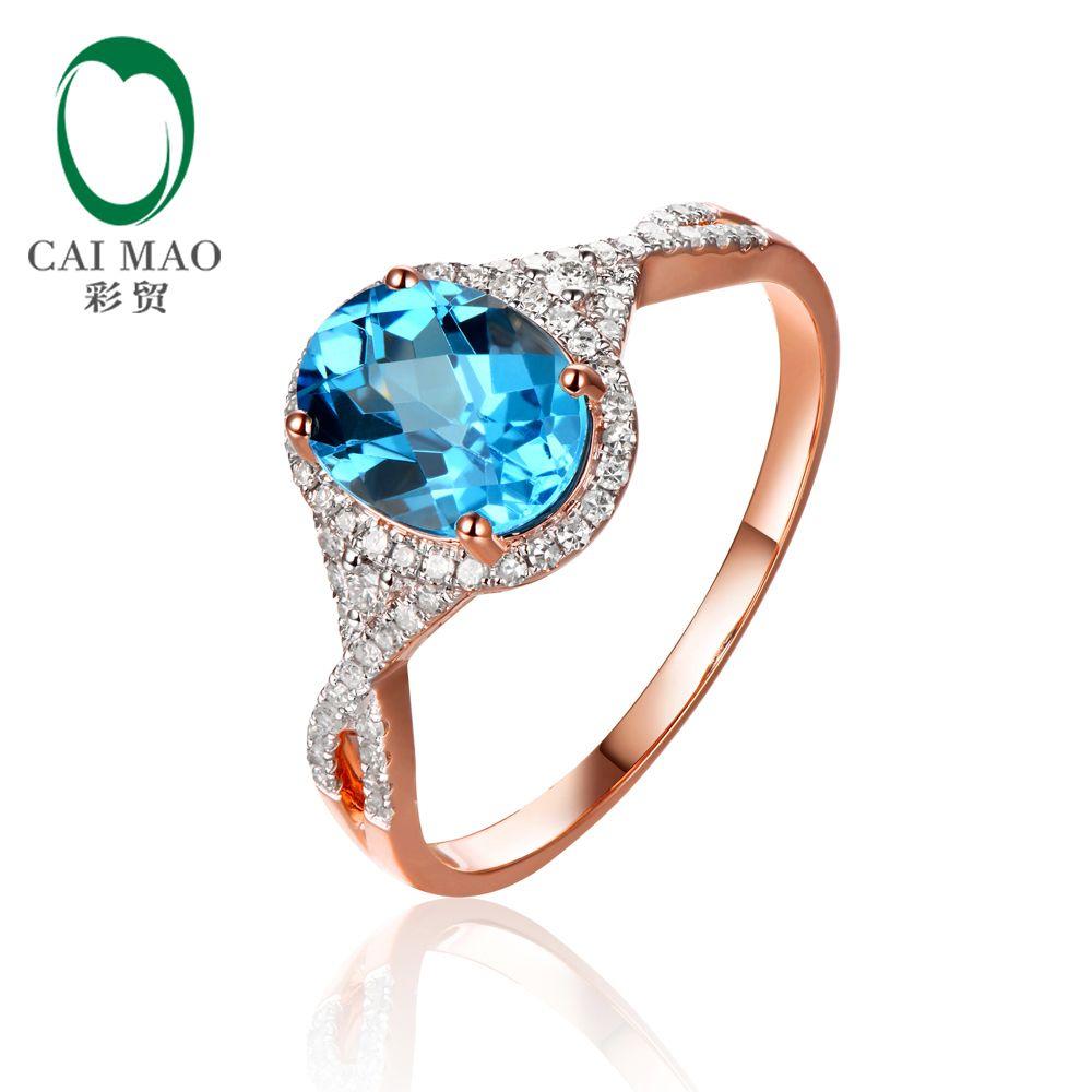 Caimao schmuck 2.19ct Natürlichen Topas und 0.29ct Diamanten 14 karat Rose Gold Engagement Ring