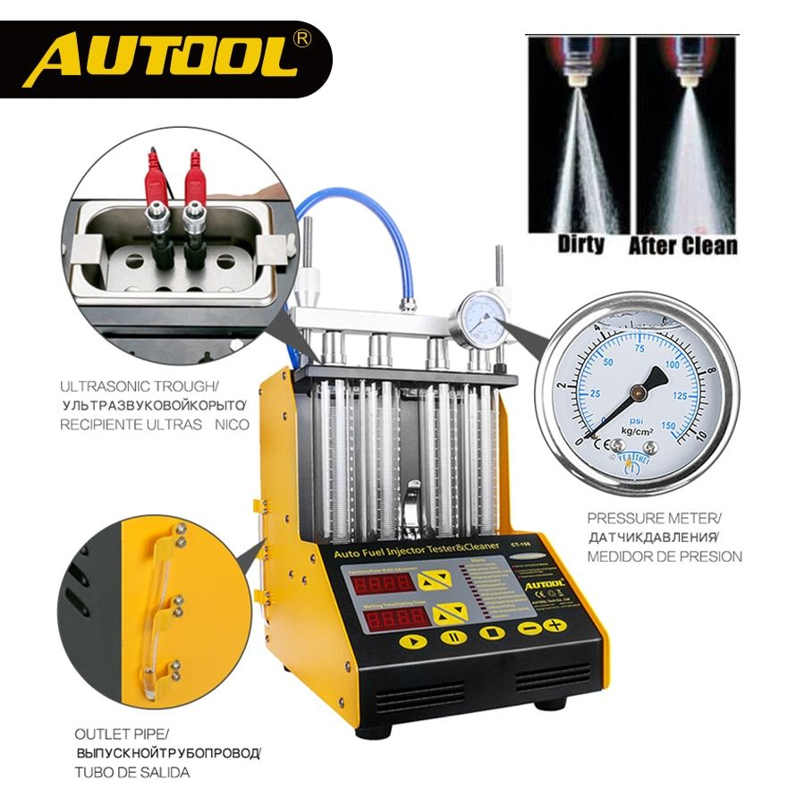 AUTOOL CT150 Car Injector Test Cars Diagnostic Auto Ultrasonic Cleaning Fuel Injector Cleaner Tester Vehicle Repair 4 Cylinder