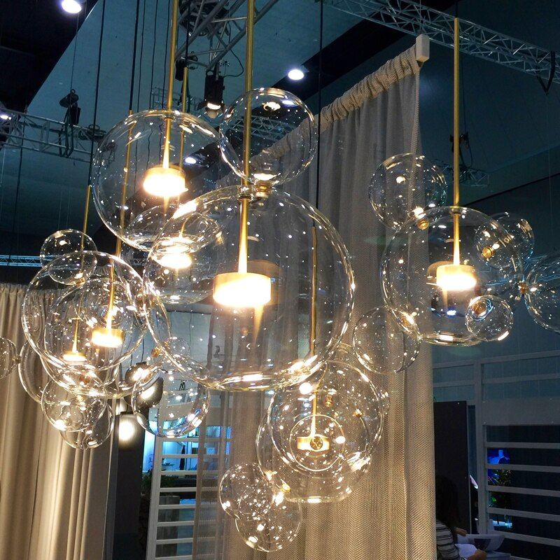 Nordic Art Creative Soap Bubble Dining Room LED Pendant Light Glass Ball Livingroom Studio Cafe Shop Light Fixtures