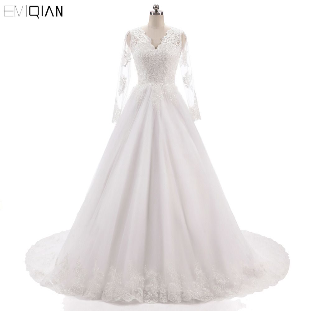 Vestido de noiva Vintage Long Sleeves Wedding Dresses V Neckline Backless Lace Appliques Wedding Gowns Court Tain Bride Dresses