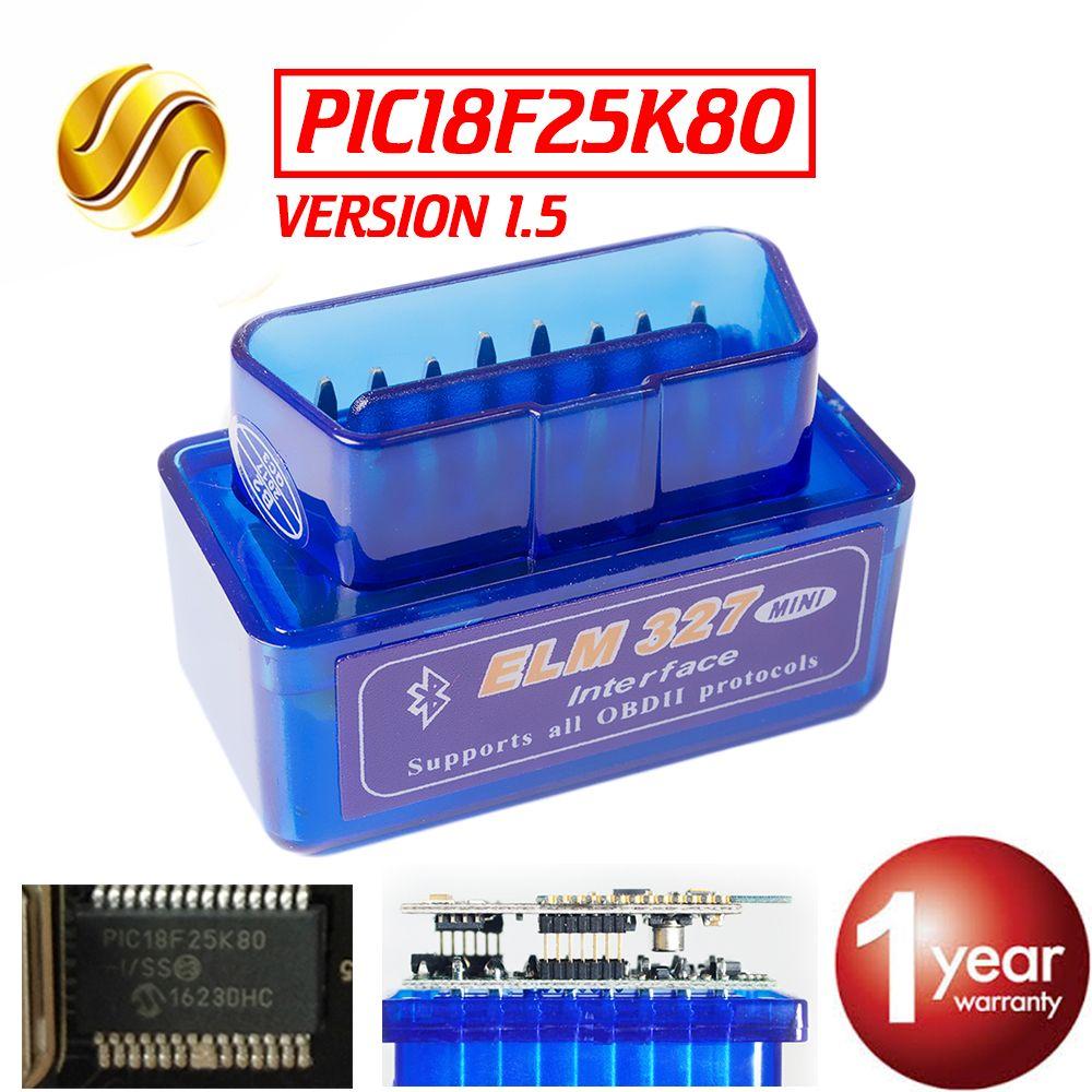Viecar V1.5 Super MINI ELM327 Bluetooth ELM 327 PIC18F25K80 Version 1.5 OBD2/OBDII pour Android Couple Voiture Code Scanner