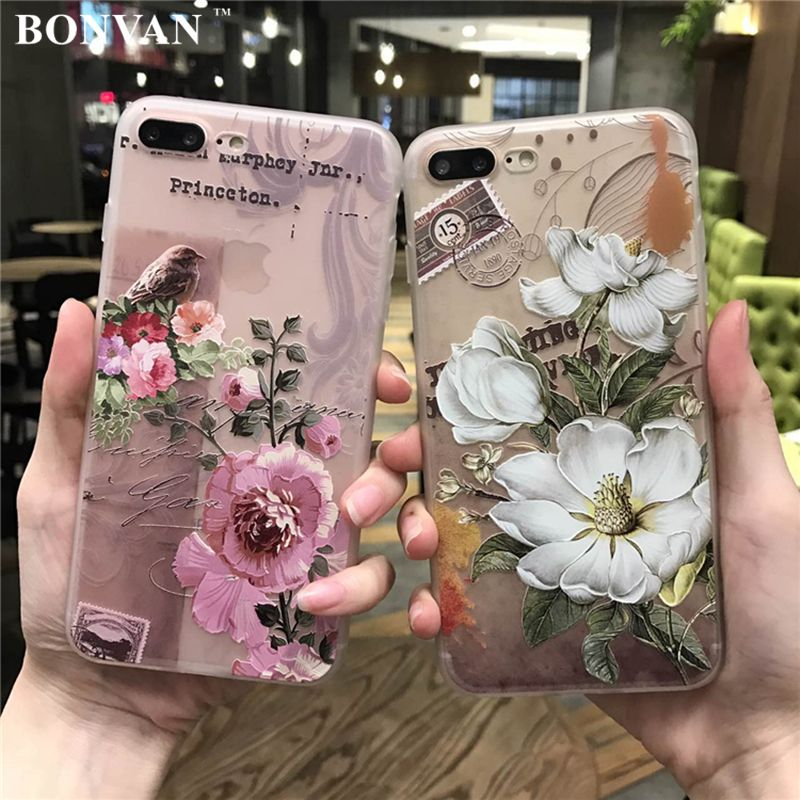 BONVAN For iPhone 7 7plus Case Cover Silicone 3D Relief Flower tpu Soft Phone Cases For iPhone 6 6s plus Translucent Coque Capa