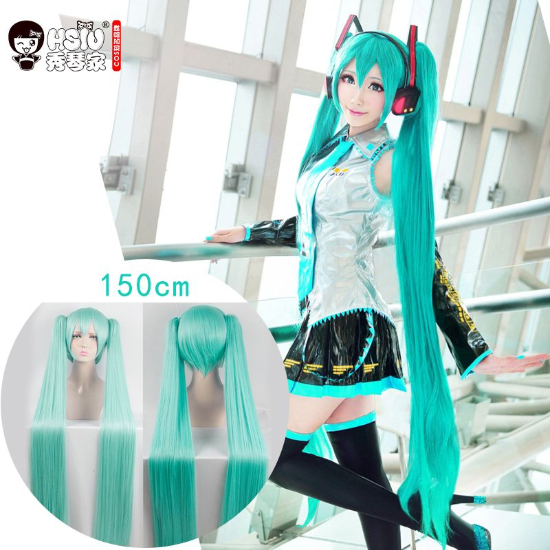 HSIU High Quality VOCALOID Cosplay Wig Hatsune Miku Costume Play Wigs Halloween party Anime Game Hair 120cm Aquamarine wig