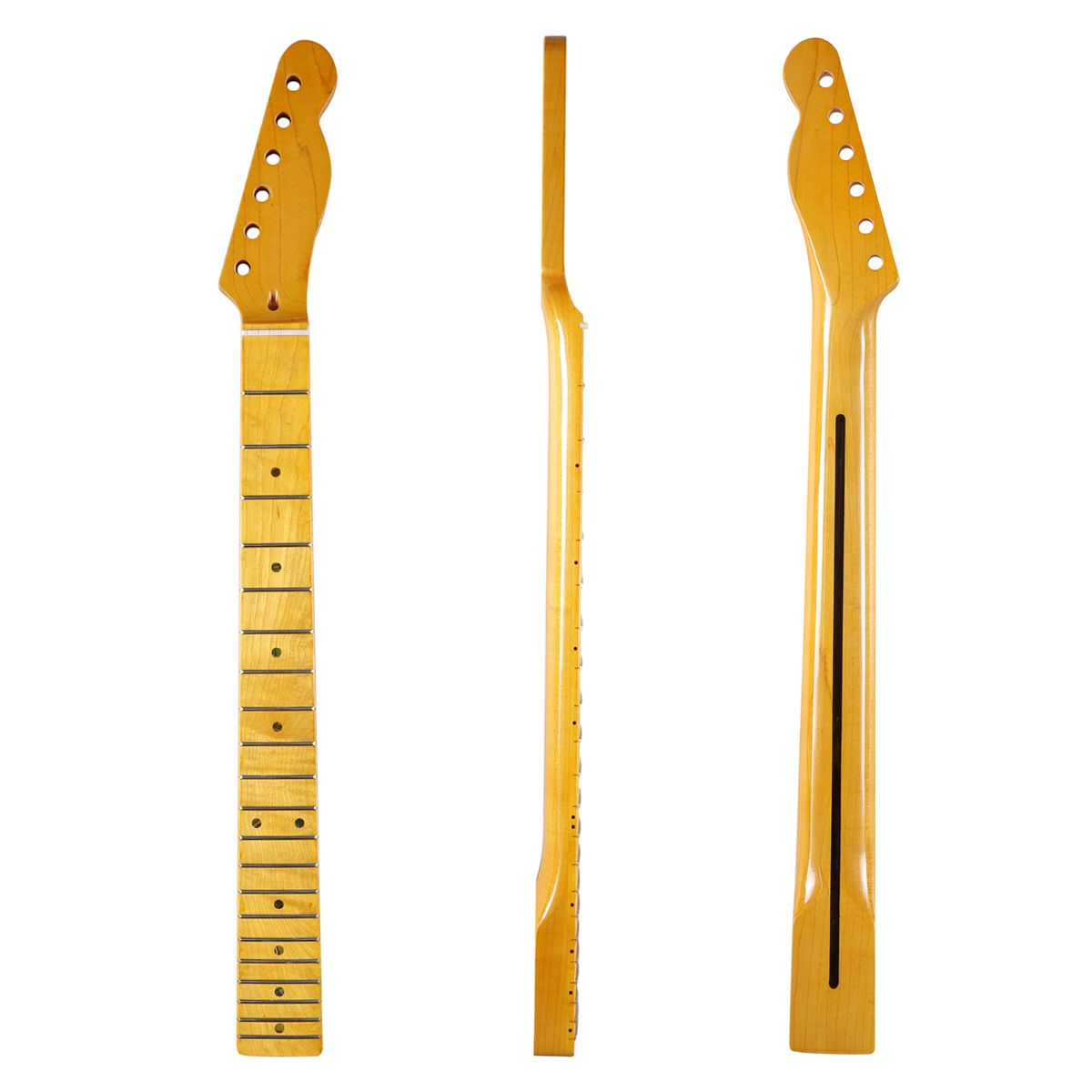 KAISH 21 Fret Glossy Canadian Maple Tele Guitar Neck with 10mm Tuner Holes Abalone Inlay and Bone Nut for Telecaster