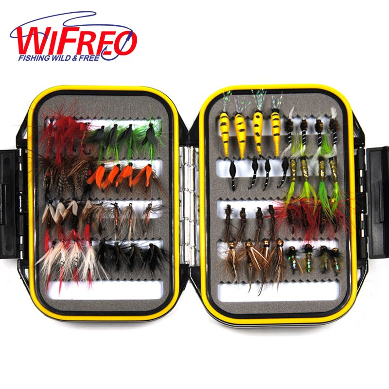 64PCS Dry & Wet Nymph Fly With Waterproof Fly Box Trout Fishing Lures Fishing Tackle Bait Mayfly Scud Pupa Peacock Prince Inside