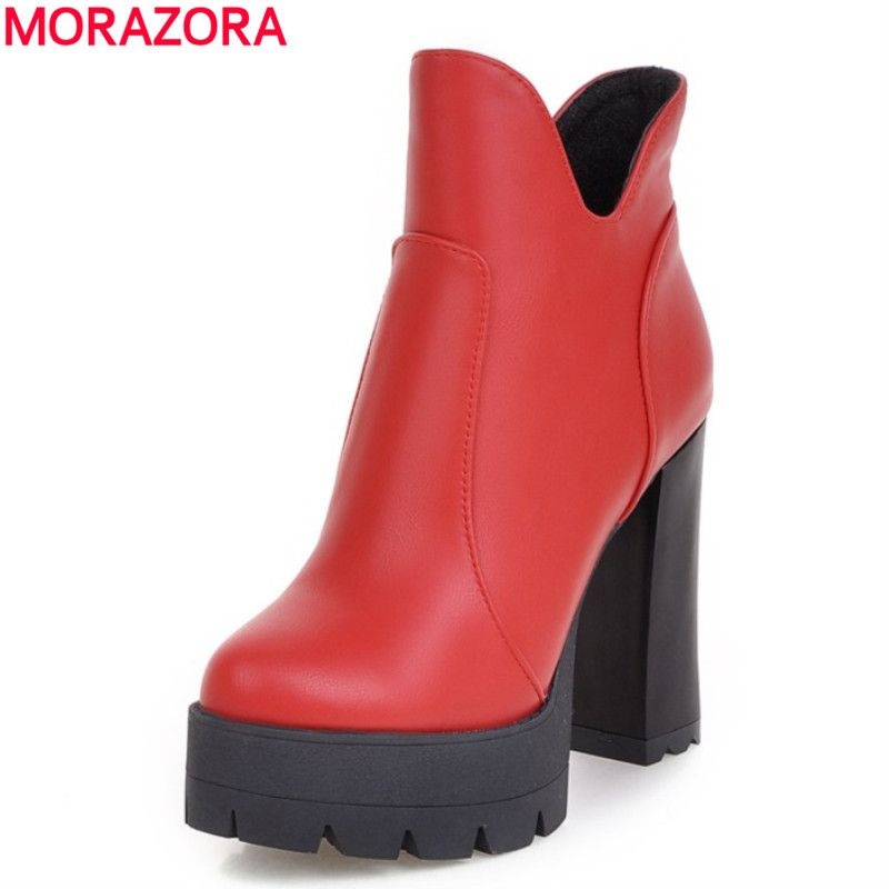 MORAZORA Plus size 2018 PU soft leather restoring ankle boots square high heels round toe platform black red women boots