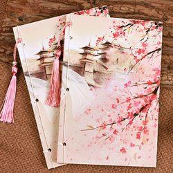Vintage Chinois Mode Mémo Pad 21X14 cm Journal Portable belle collection fleur contraignant écrire des livres