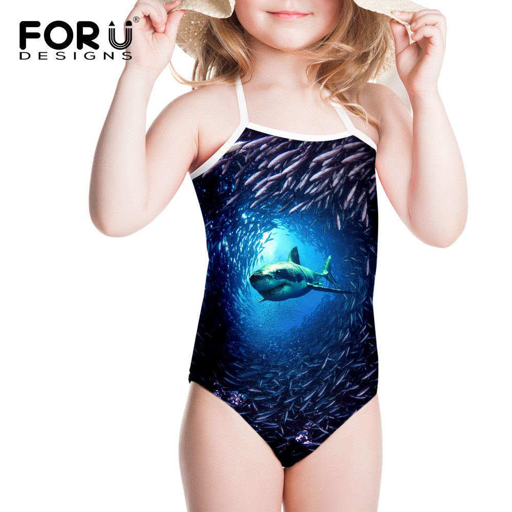 New Blue Sea Shark One Piece Swimsuit for Girls 2017 Summer Holiday Bathing Swimwear Infantil Swimming Wear For Bathers Children