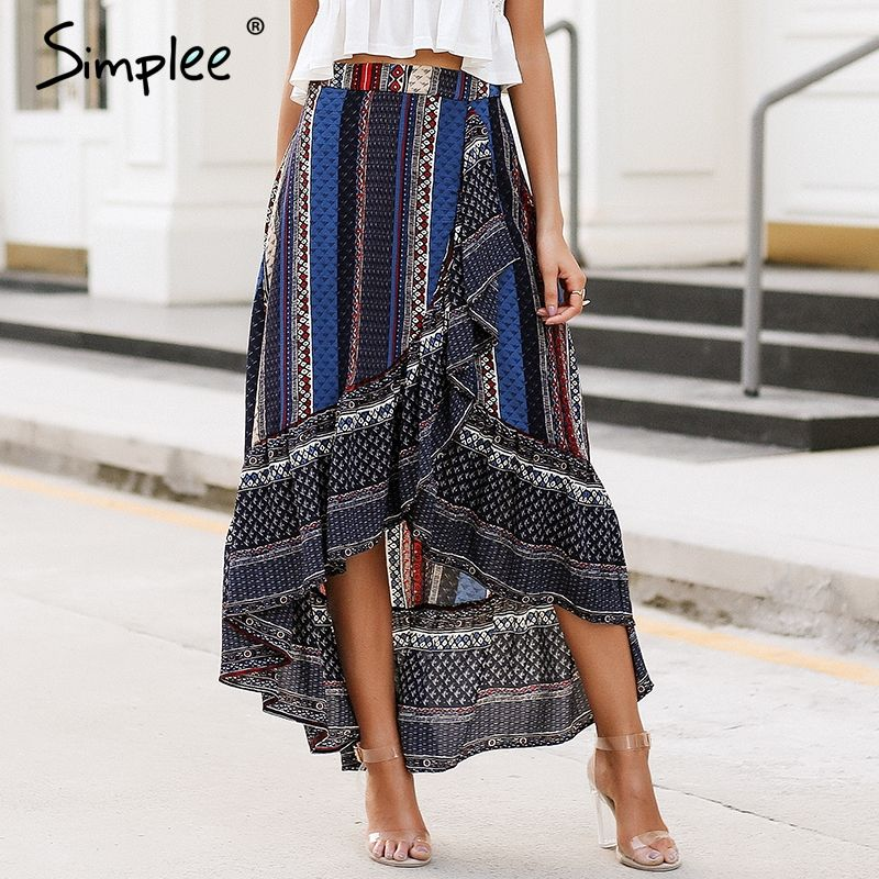 Simplee Ruffle boho print wrap skirt women Summer beach casual maxi skirt female 2018 Spring vintage high waist long skirt