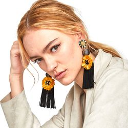 Vodeshanliwen 2018 za moda étnica borla larga Pendientes bohemio flor declaración gota cuelgan Pendientes para las mujeres Accesorios