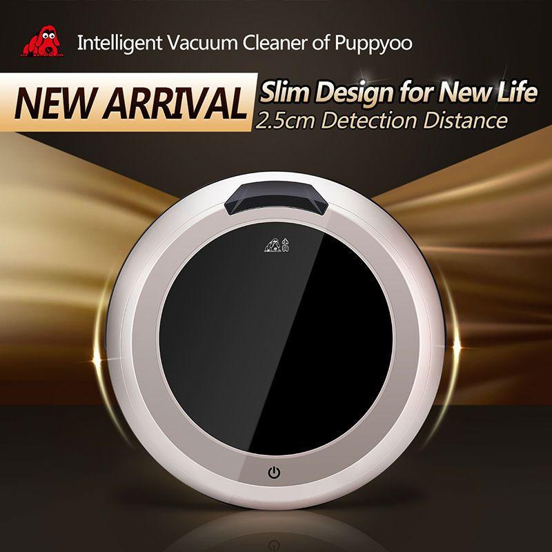 PUPPYOO Multifonctionnel Intelligent Robotique Aspirateur Auto-Charge Appareils Ménagers Vide Télécommande Brosse Latérale V-M611