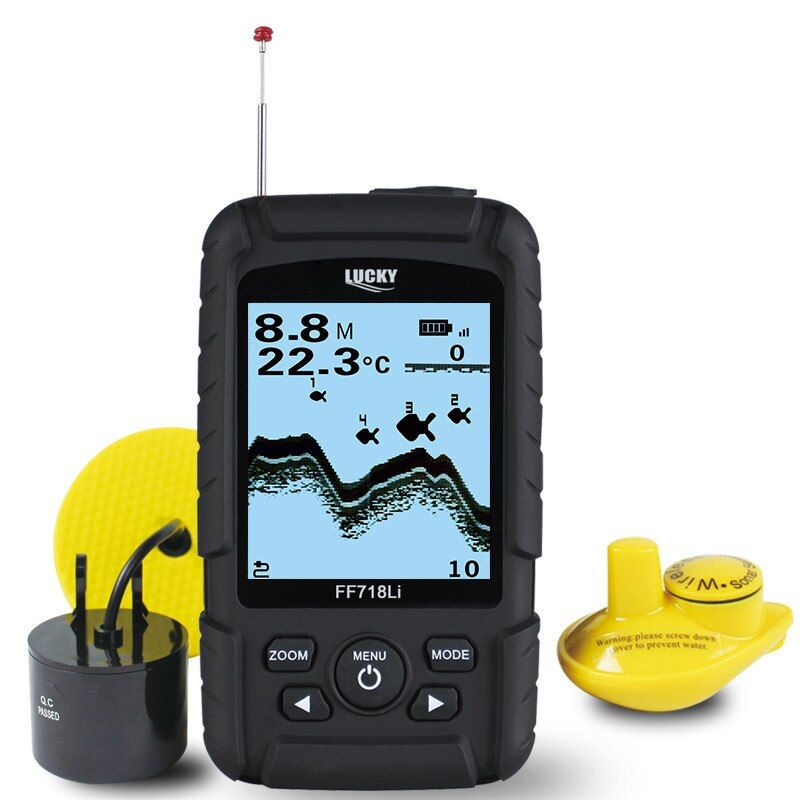 LUCKY Fish Finder Portable Waterproof 328ft /100m Depth Sonar Transducer 2-in-1 Wired & Wireless Sensor Fish Finder FF718Li