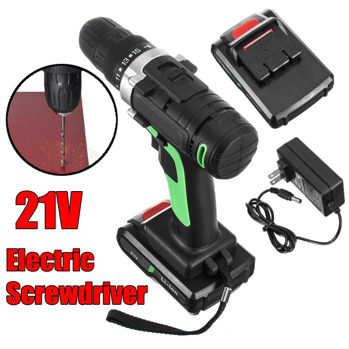 21V additional lithium-ion Battery Cordless Electric hand Drill driver Wrench hole electrical Drill power tools