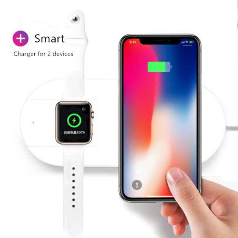 2 in 1 Wireless Charger Pad for Apple Watch Air Fast Charging Cable For iPhone X 10 8 8 Plus for iWatch 4 3 2 for Samsung S8