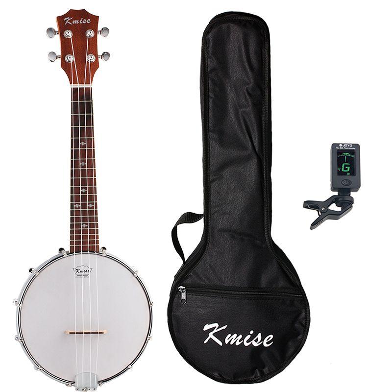 Kmise Banjo Ukulele 4 String Uke Ukelele Concert 23 Inch Size Sapele with Bag Tuner