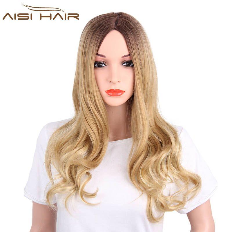 Я в парик Синтетический Ombre Искусственные парики для черный Для женщин длинные волнистые темно-коричневого до Блондинка два тона термостой...