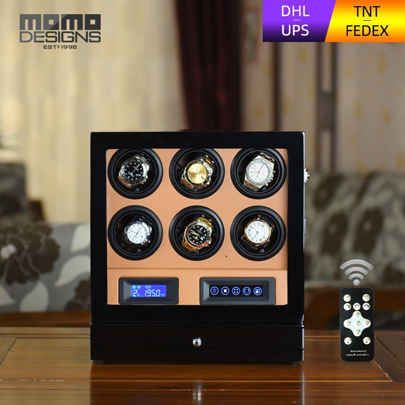 HOTSALE Luxus Uhr wickler box 6 automatische uhr display fall mit LCD touch screen/fernbedienung/LED licht für Geburtstag geschenk