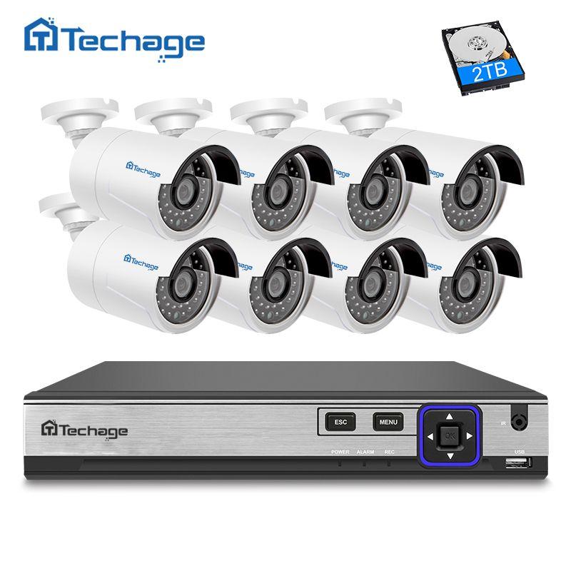 Techage HD H.265 8CH NVR Kit 4.0MP POE Security Camera CCTV System 8PCS 2592*1520 IP Camera Outdoor Waterproof Surveillance Set