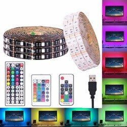 USB RGB LED Strip Waterproof 5V 5050 SMD RGB USB LED Strip Light Dimmable Ribbon tape LED lamp 17key 44Key / 24key add WiFi