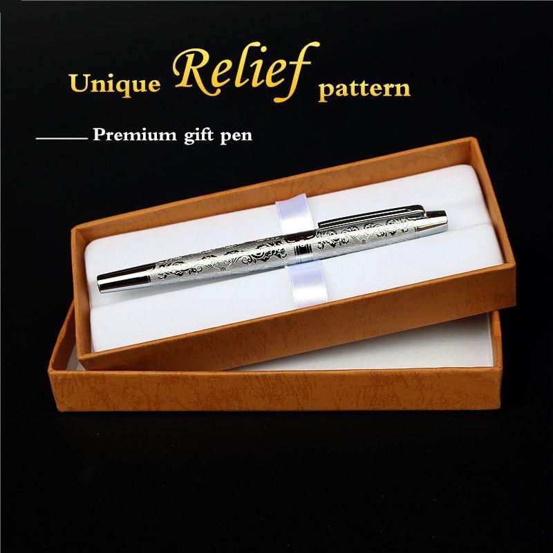 Noble stylo plume bonne qualité argent Match rétro affaires réunion luxueux stylos à encre cadeau pour amis et collègues livraison gratuite