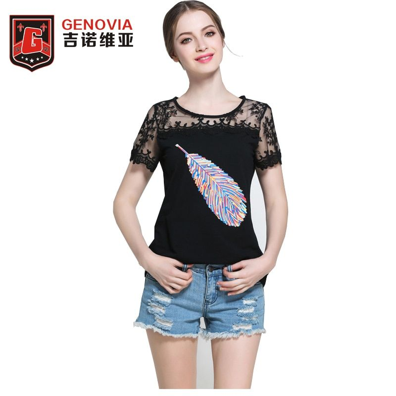 Women Fashion Size L-5XL Summer new Lace embroidery Short sleeves T-shirt  Arrival 2017 Ladies Top