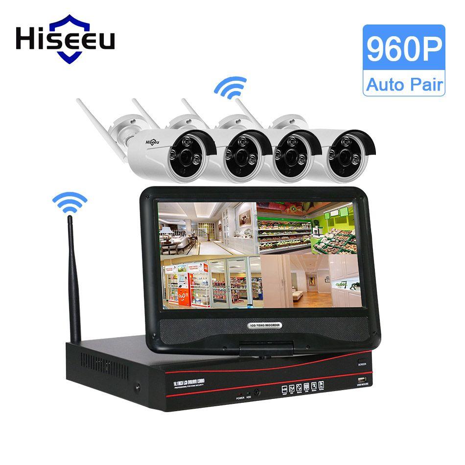 Hiseeu 4CH 960 P 10 Pouce Displayer Sans Fil CCTV Système Sans Fil NVR Caméra IP IR-CUT Bullet Système de Sécurité À Domicile CCTV Kit