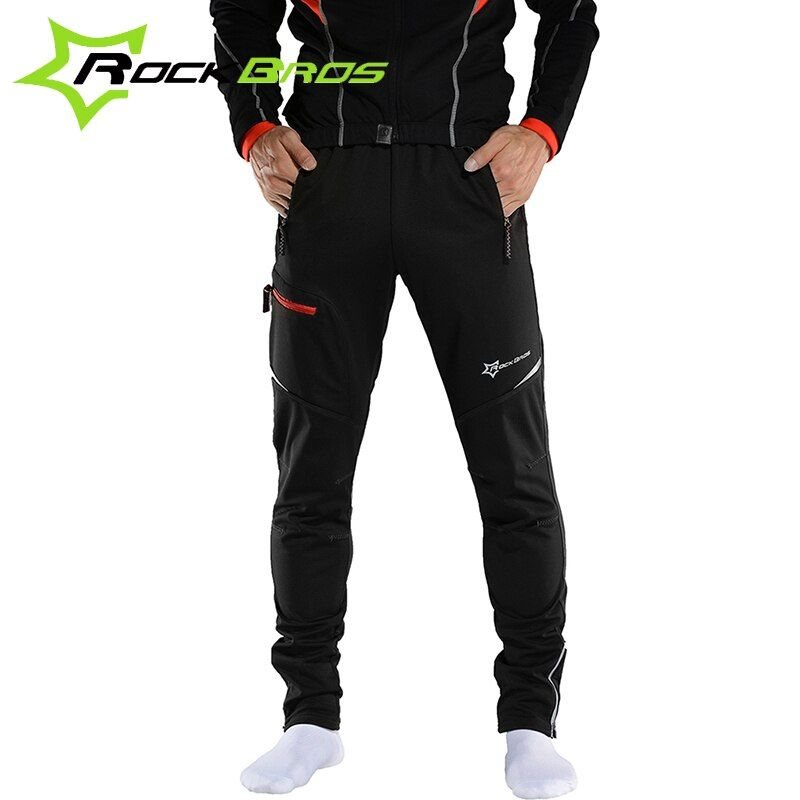 ROCKBROS MTB Men Thermal Fleece Clothing Windproof Winter Running Sportswear Reflective Bicycle Outdoor Sports Hiking Pants