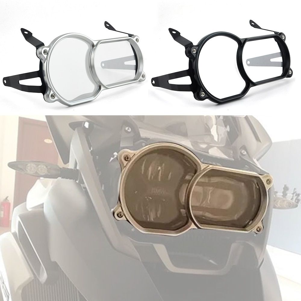 Motorcycle Headlight Guard Protector CNC Aluminum For BMW R1200GS LC 2013-2016 r1200gsa LC 2014-2016 PC Lense with bracket
