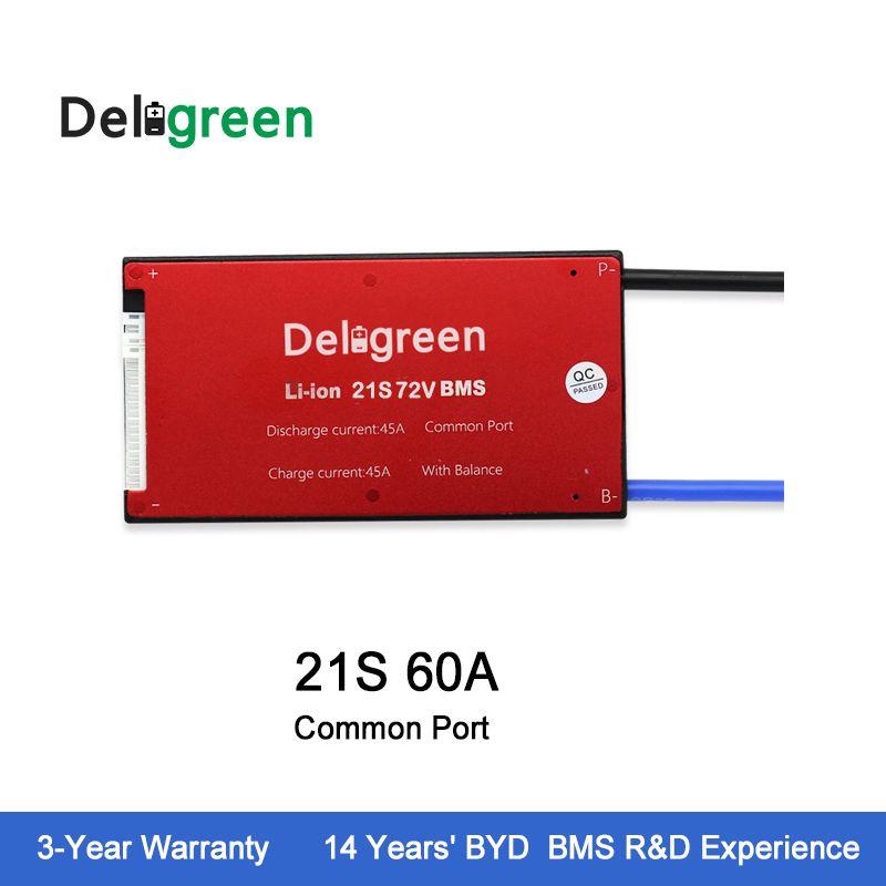 Deligreen 21S 60A 72V PCM/PCB/BMS for lithium battery pack 18650 Li-Po LiNCM Battery Pack