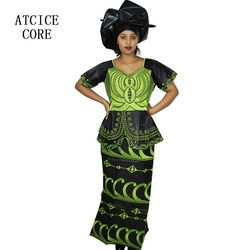 african dresses for women FREE SHIPPING NEW FASHION DESIGN AFRICAN BAZIN RICHE EMBROIDERY SHORT RAPPER WITH SCARF