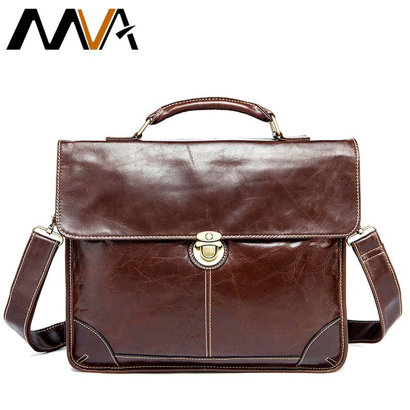 MVA Men's Bag for Documents Leather Briefcase 14'' Laptop Handbags Totes Bags Hasp Messenger Bag Men Business Briefcase 7091